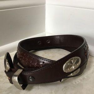 Other - Mens brown braided leather GOLF emblem belt 34